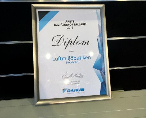 Årets återförsäljare Daikin B2C 2015