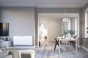 Fläktkonvektorer installerade i vardagsrum